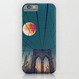 Blood Moon over the Brooklyn Bridge and New York City Skyline iPhone Case