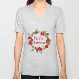 Lovely Merry Christmas Wreath Unisex V-Neck