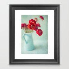 Ranunculus in Blue Vase Framed Art Print