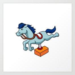 illustration of mechanical horse Art Print