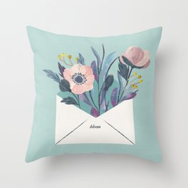 Flowers in an envelope: A watercolor floral throw pillow Throw Pillow