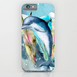 Watercolor Under Sea Collection: Dolphin iPhone Case