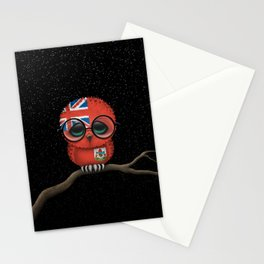Baby Owl with Glasses and Bermuda Flag Stationery Cards