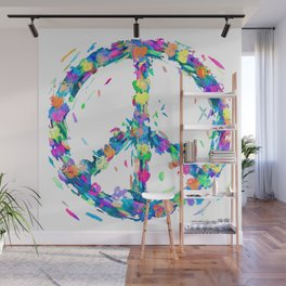 Colorful Hearts Whirled Peace & Love Wall Mural