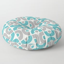 Funky Mid Century Modern Pattern 554 Gray and Turquoise Floor Pillow