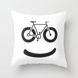 Bike Smile - Smiley Face Throw Pillow