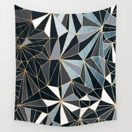 Stylish Art Deco Geometric Pattern - Black, blue, Gold #abstract #pattern Wall Tapestry