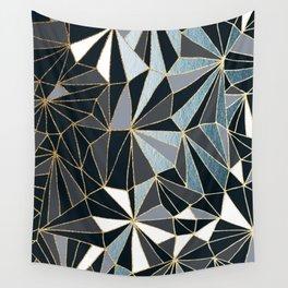 Stylish Art Deco Geometric Pattern - Black, blue, Gold #abstract #pattern Wall Tapestry