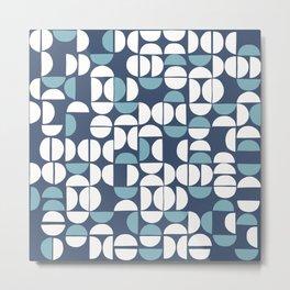 Geometric moon pattern 9 Classic Blue Metal Print