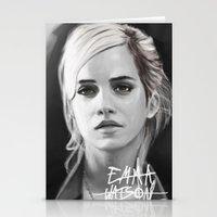 emma watson Stationery Cards featuring Emma Watson Portrait by Jeremy Snow Illustration