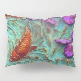 DIMENSIONAL PURPLE IRIS FLOWERS & GOLDEN KOI FISH Pillow Sham