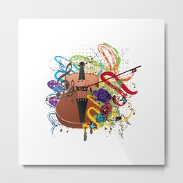 Grunge violin Metal Print