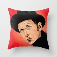 tom waits Throw Pillows featuring Tom Waits by Brian Madden