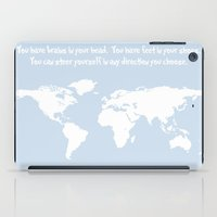 dr seuss iPad Cases featuring Dr. Seuss inspirational quote with earth outline by Dustin Hall
