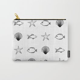 Sea Creatures Pattern - Black Carry-All Pouch
