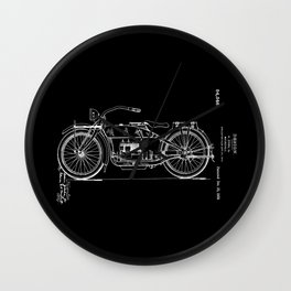 1919 Motorcycle Patent Black White Wall Clock