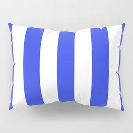 Palatinate blue - solid color - white vertical lines pattern Pillow Sham