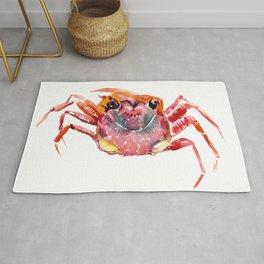 Crab, red pink orange kitchen artwork design Rug