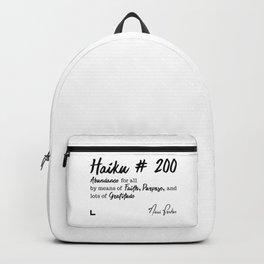 Abundance 1 - Haiku 200 - Milestone Collection - Black Backpack