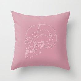 Profile Pink Skull Throw Pillow