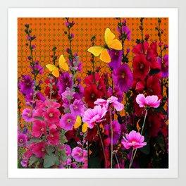 BUTTERFLIES IN PURPLE-PINK  FLOWERS GARDEN Art Print