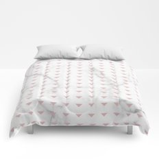 White Marble Blush Pink Abstract Triangle Comforters