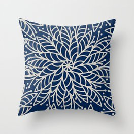 Modern navy blue ivory hand painted floral mandala Throw Pillow