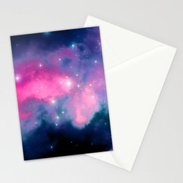 Beautiful Pink and Blue Abstract Cosmic Starry Vista Stationery Cards