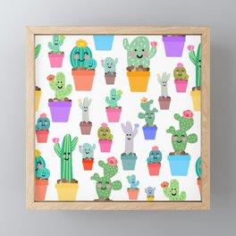 Sunny Happy Cactus Family Framed Mini Art Print
