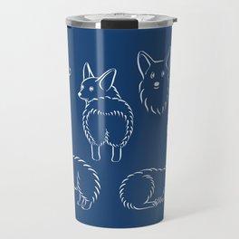 Corgi Pattern on Navy Background Travel Mug