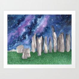 """Purple Galaxy & Callanish Stones"" watercolor landscape painting Art Print"