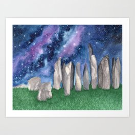"""Purple Galaxy & Callanish Stones"" watercolor landscape painting Art Print"