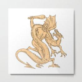 Hercules Fighting Dragon Drawing Color Metal Print