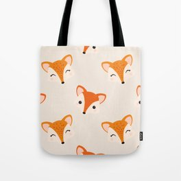 Cute Smiling Fox Head Illustration with Light Background Tote Bag