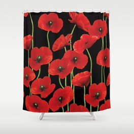 Poppies Flowers black background pattern graphic Shower Curtain