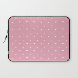 Small sketchy white hearts pattern on pink background Laptop Sleeve