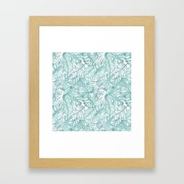 Tropical pink green watercolor hand painted floral Framed Art Print