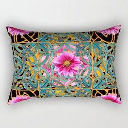 Ebony-gold & Aqua Fuchsia Dahlias Turquoise Art Nouveau Rectangular Pillow