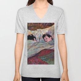 """Henri de Toulouse-Lautrec """"The Bed"""" Unisex V-Neck"""