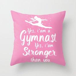 Womens Gymnastic Shirt Funny Yes i'am A Gymnastic Throw Pillow