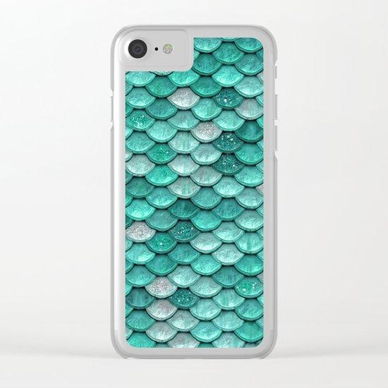 Aqua & mint mermaid glitter scales - Luxury Mermaid Scales Clear iPhone Case