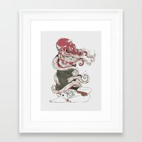 huebucket Framed Art Prints featuring My head is an octopus by Huebucket