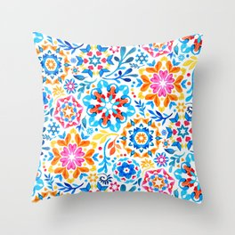 Watercolor Kaleidoscope Floral - brights Throw Pillow