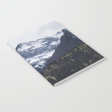 Winter and Spring - green trees and snowy mountains Notebook