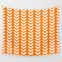 Orange and White Scandinavian leaves pattern Wall Tapestry
