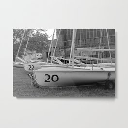 Numbered Boats Metal Print