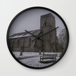 Dunkirk Church In Winter Wall Clock