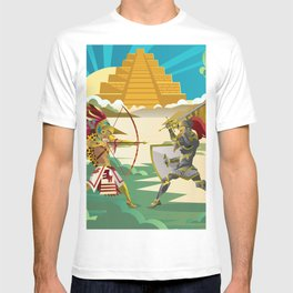 european knight fighting an aztec warrior in the jungle T-shirt