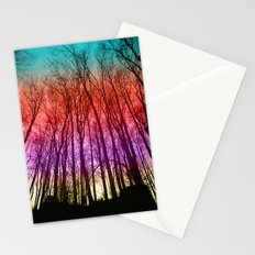 Colorful forest silhoutte Stationery Cards