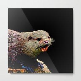 fish otter on a rock vector art Metal Print